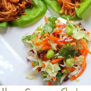 Honey Sesame Chicken Lettuce Wraps with Asian Slaw 1