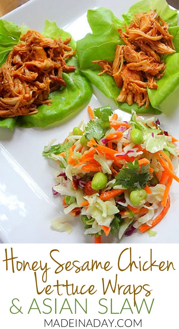 Honey Sesame Chicken Lettuce Wraps with Asian Slaw 10