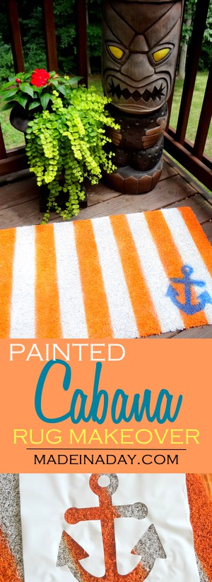 Painted Rug Makeover Cabana Style stripes! Don't throw that rug away! Makeover an old outdoor brush rug into a cut striped anchor rug!