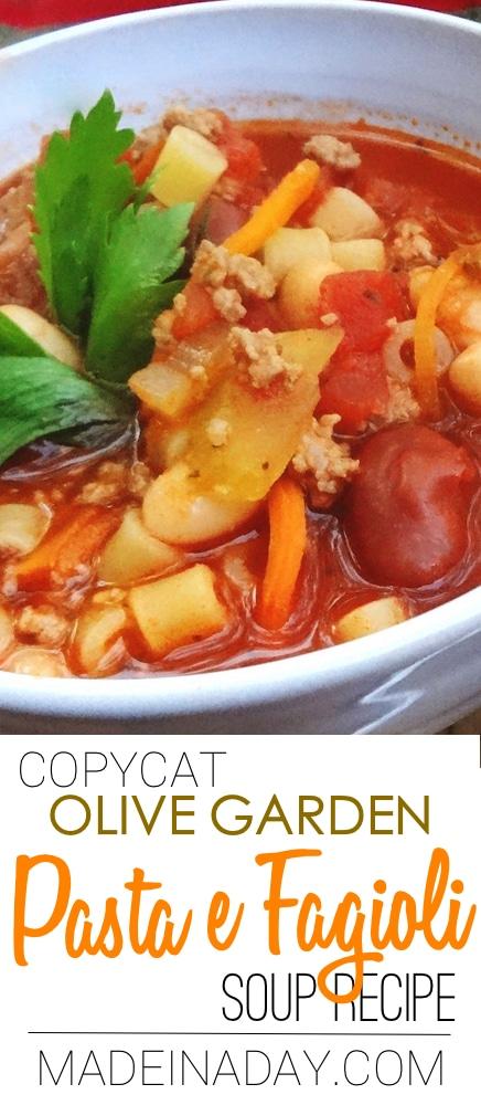 My version of the Copycat Pasta e Fagioli Italian Soup Recipe