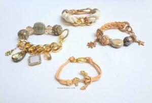 DIY Statement Bracelets, leather, beads, gold madeinaday.com