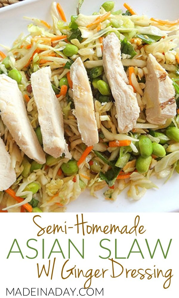 Asian Slaw w/Ginger Dressing, Semi-homemade Asian slaw the easy way from grocery store salad mix! Simple ingredients big flavor! Edamame recipe, ginger, cilantro, honey, recipe