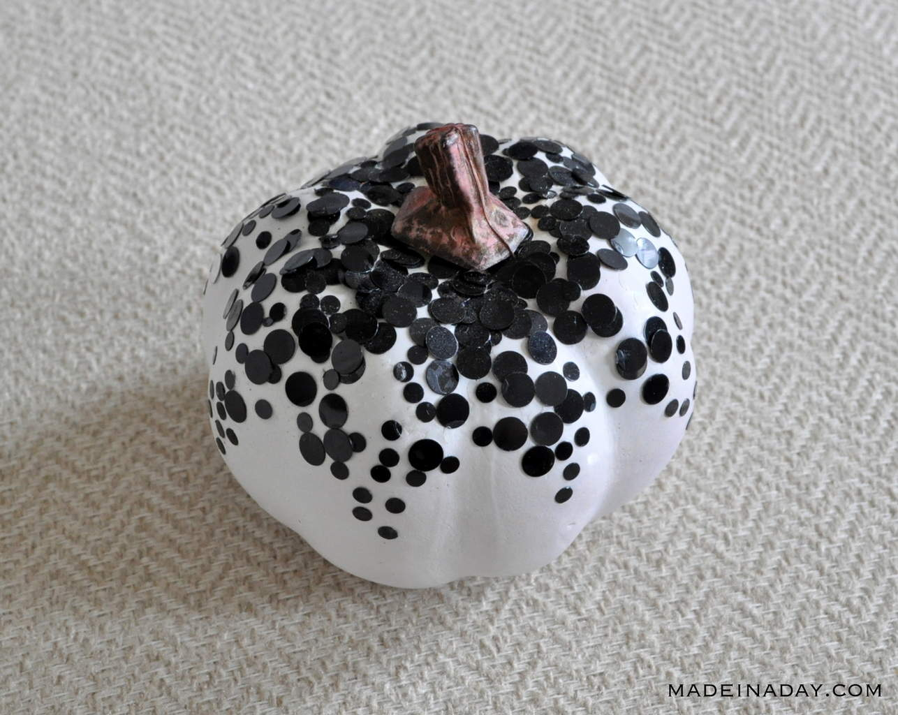 Black Polka Dot Confetti Pumpkin madeinaday.com