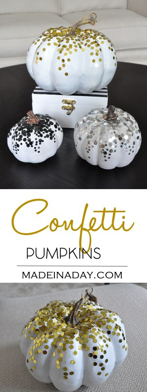 DIY #Confetti #Pumpkins for sparkling #Fall Decor!