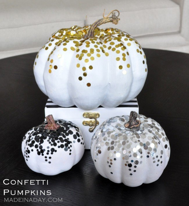 DIY Gold Black Confetti Dot Pumpkin Tutorial madeinaday.com