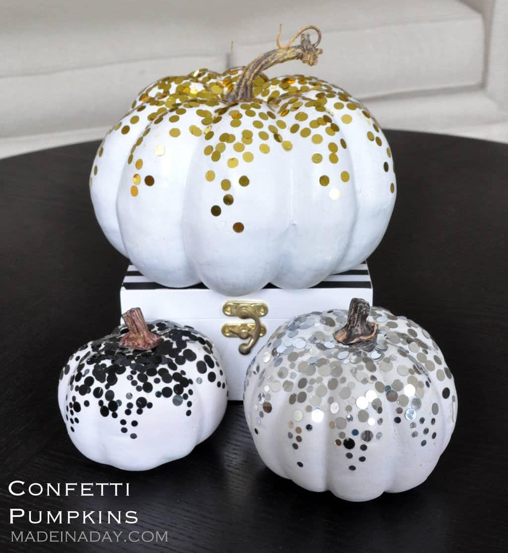 DIY Gold Black Confetti Dot Pumpkin Tutorial madeinaday.com