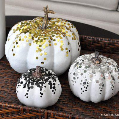 DIY Confetti Pumpkins for Fall Decor