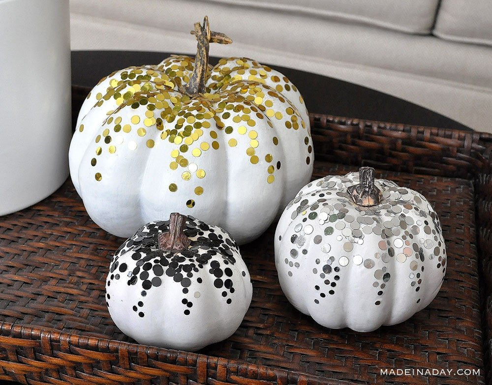 Confetti Fall Pumpkin, confetti decor, glitter pumpkins, metallic pumpkin