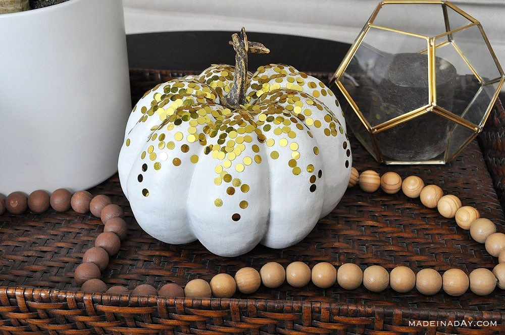 white confetti pumpkin, gold dot confetti pumpkin, gold metallic pumpkin, gold glitter pumpkin
