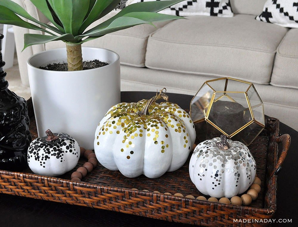 metallic pumpkins, confetti covered pumpkin,