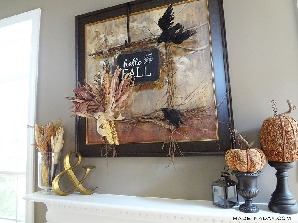 Square Corn Wreath, Square Crow Wreath, Hello Fall Wall Art,