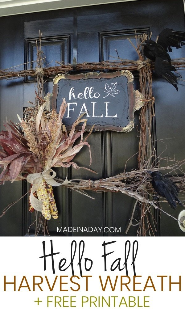 Hello Fall Harvest Wreath Free Printable Made In A Day