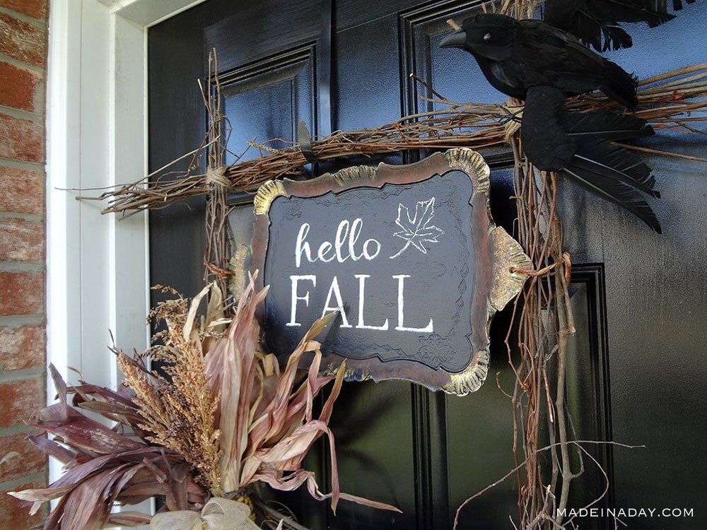 Fall Crow Indian Corn Door Hanger, square grapevine wreath, natural twig wreath, Hello fall corn wreath