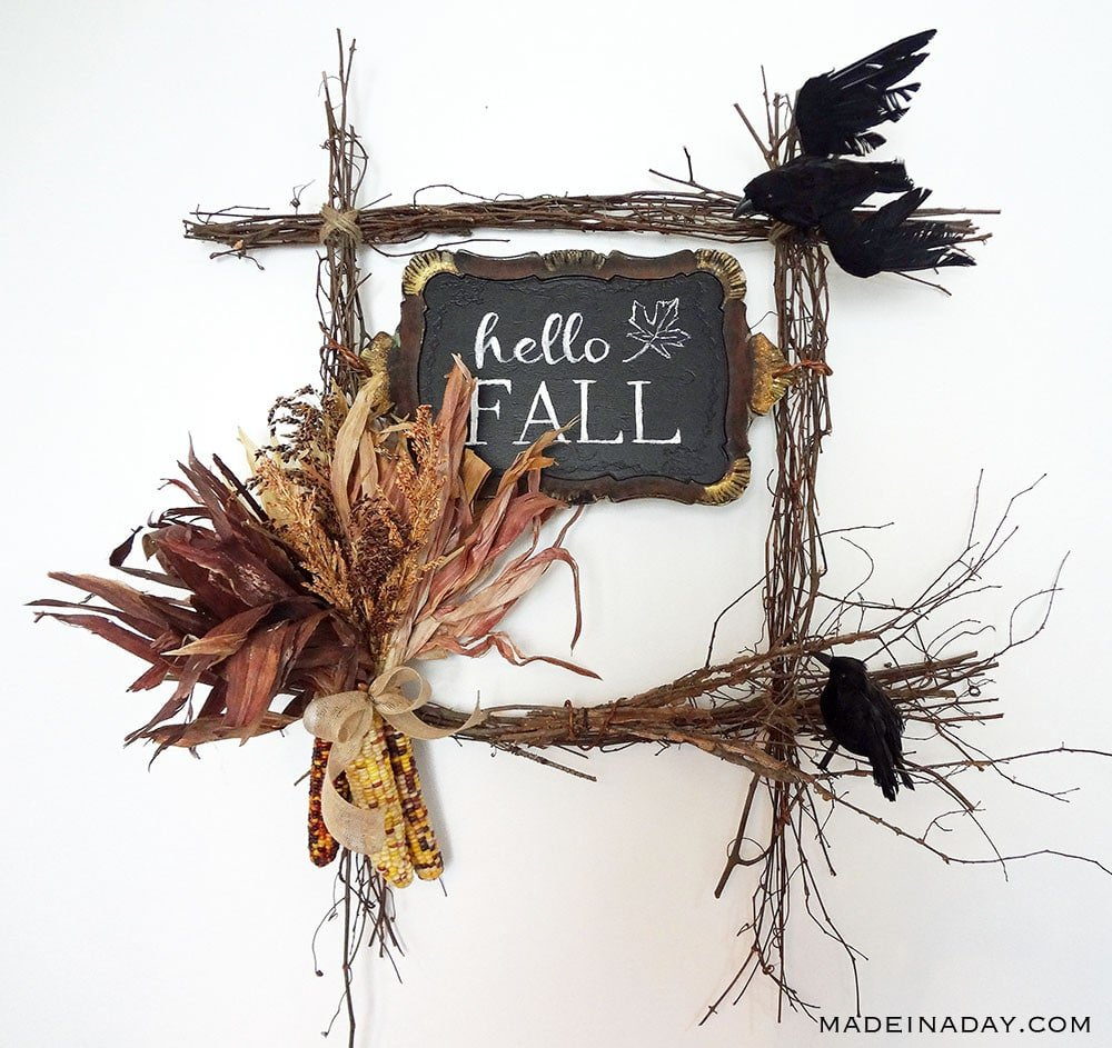 Indian Corn Wreath, Corn Husk Wreath, Square Twig Fall Wreath, Crow And Corn Wreath