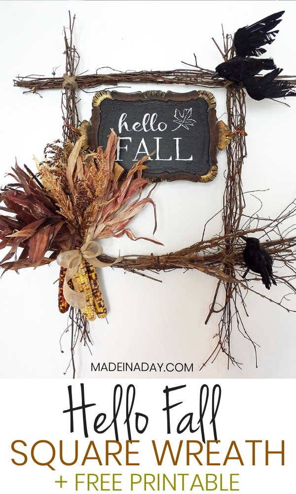 Hello Fall Harvest Wreath FREE Printable, Tutorial on how to make a square wreath w/ a FREE Hello Fall Printable to frame or use as a guide! Fall wreath, Corn wreath, Crow wreath, twig wreath, paint a tray, how to stencil with an overhead projector. #fall #wreath #Crowwreath #autumn #cornwreath #indaincorn #falldecor #fallwreath #hellofall #indiancornwreath #HelloFallsign #doorhanger #squarewreath square grapevine Wreath