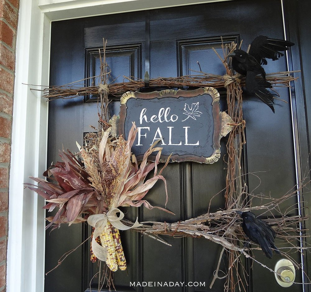 Hello Fall Harvest Wreath, square twig wreath, hello fall wreath, harvest wreath