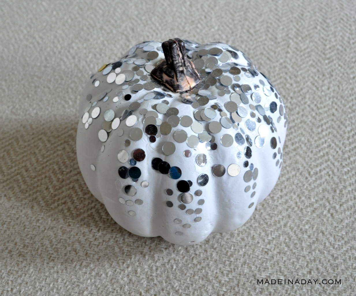 Silver Confetti Metallic Dot White Pumpkin madeinaday.com