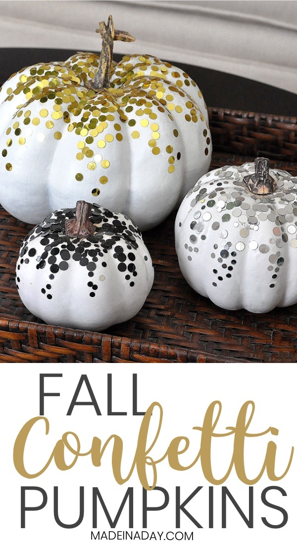 DIY Confetti Pumpkins for Fall Decor! Add #confetti to pumpkins to add a sparkle to your decor this Fall. Faux pumpkin craft, easy craft, white pumpkin, metallic pumpkin, fall pumpkin, glam pumpkin, #glitter pumpkin, black silver gold pumpkins. #fall #falldecor #fallhomedecor #pumpkins #pumpkin #confetti #whitepumpkin #pumpkinglam #glam #goldpumpkin