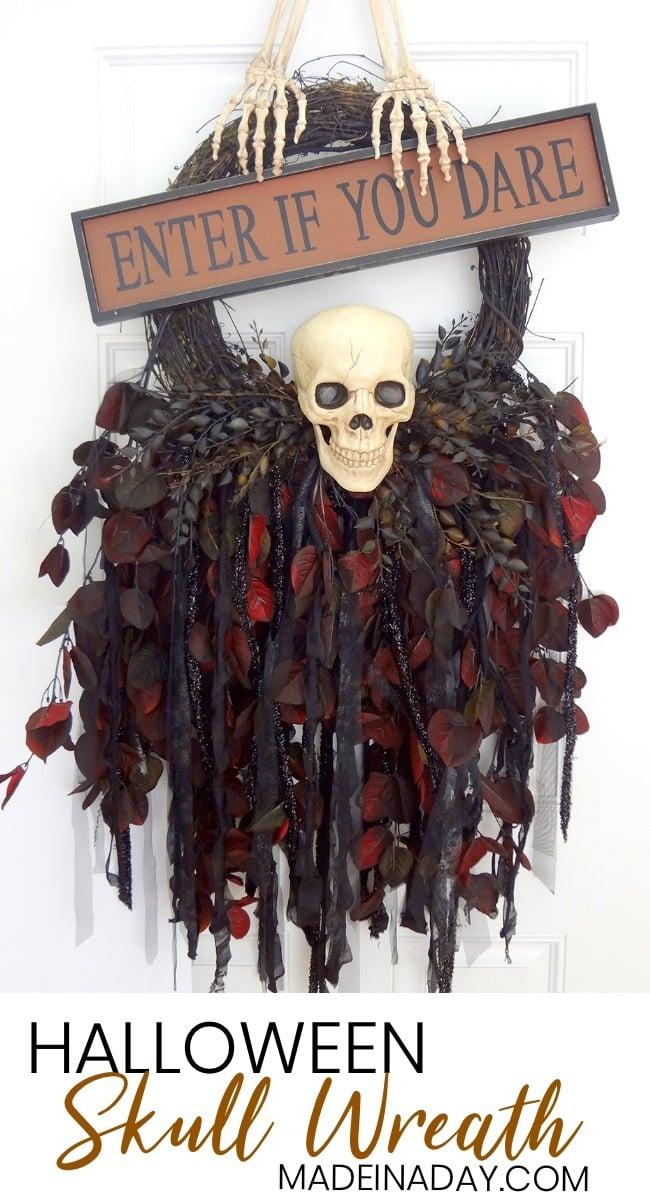 Skeleton Halloween Wreath Skeleton Door Hanger