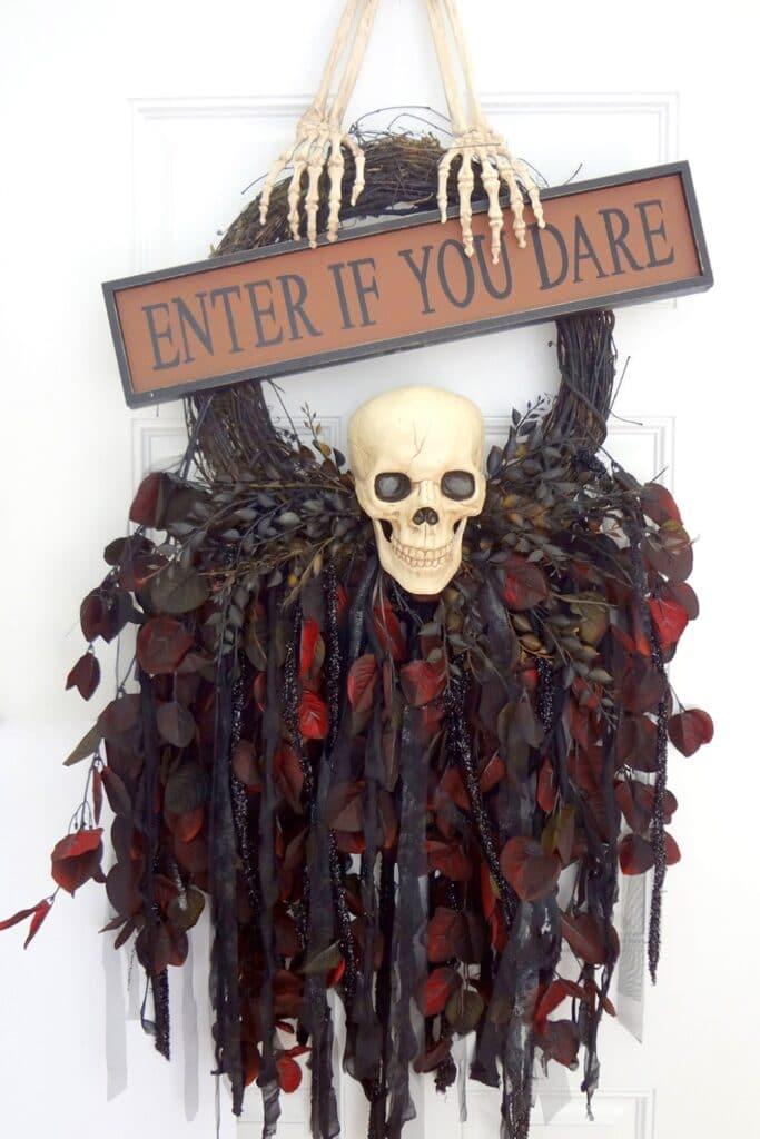 enter if you dare skull wreath
