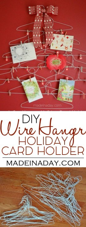 Quirky Wire Hanger Holiday Card Holder, easy craft, make a Christmas card holder out of dry cleaning hangers, washi tape craft..