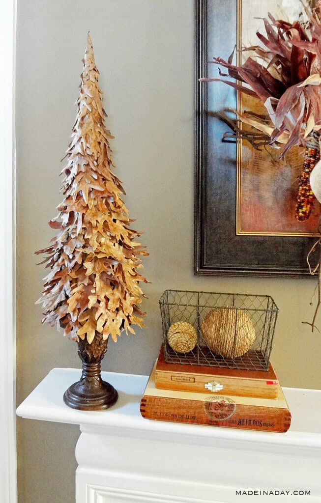 fall cone tree, decorative tree make from leaves, fall home decor