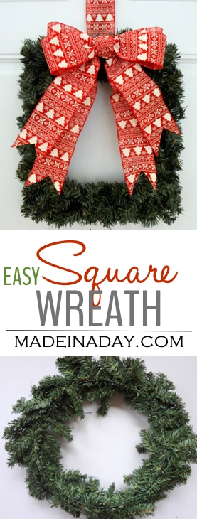 Easy DIY Square Wreath, Super easy square wreath and The Ornamator review madeinaday.com