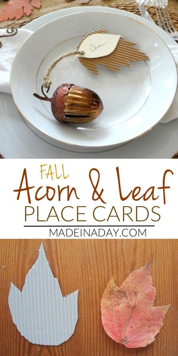 Acorn Corrugated Leaf Place Cards, DIY tablescape place cards, Thanksgiving table, fall table, acorn place cards, leaf place card, fall tablescape, copper acorn