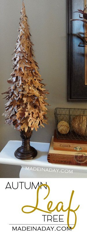 DIY Fall Leaf Tree, layer leaves on a cone to make this easy home decor for Fall, Autumn decor, leaf craft, #fall #leaf #leaves #falltree #Autunm #Fallcrafts #Falldecor