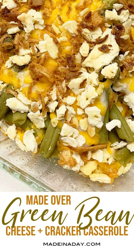 classic green bean casserole, layered green bean bake, cheesy green beans