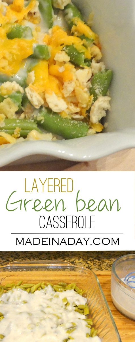 Not your Moms Green Bean Casserole, A must try side dish! Not your regular green bean casserole. Layered crackers cheese and green beans.