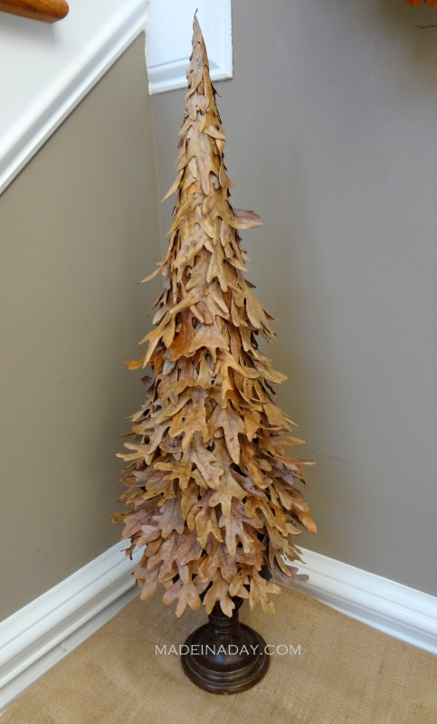 DIY tree out of Fall leaves