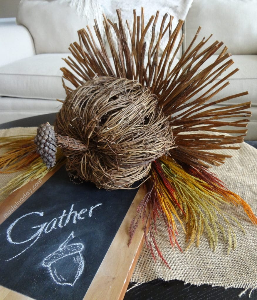RUSTIC TURKEY CENTERPIECE, thanksgiving centerpiece from a twig pumpkin, DIY turkey centerpiece