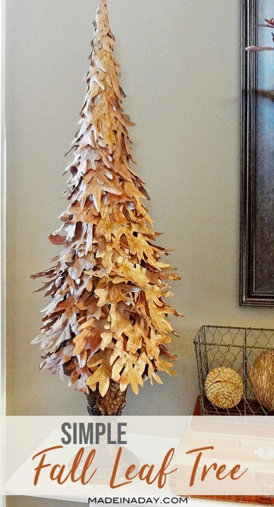 decorative tree make from fall leaves, fall cone tree, Leaf tree decoration,