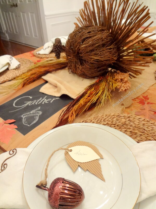 Thanksgiving Table Rustic Turkey Made in a Day #turkeytablescapes