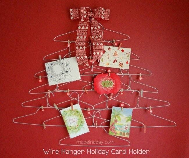 Quirky Wire Hanger Holiday Card Holder