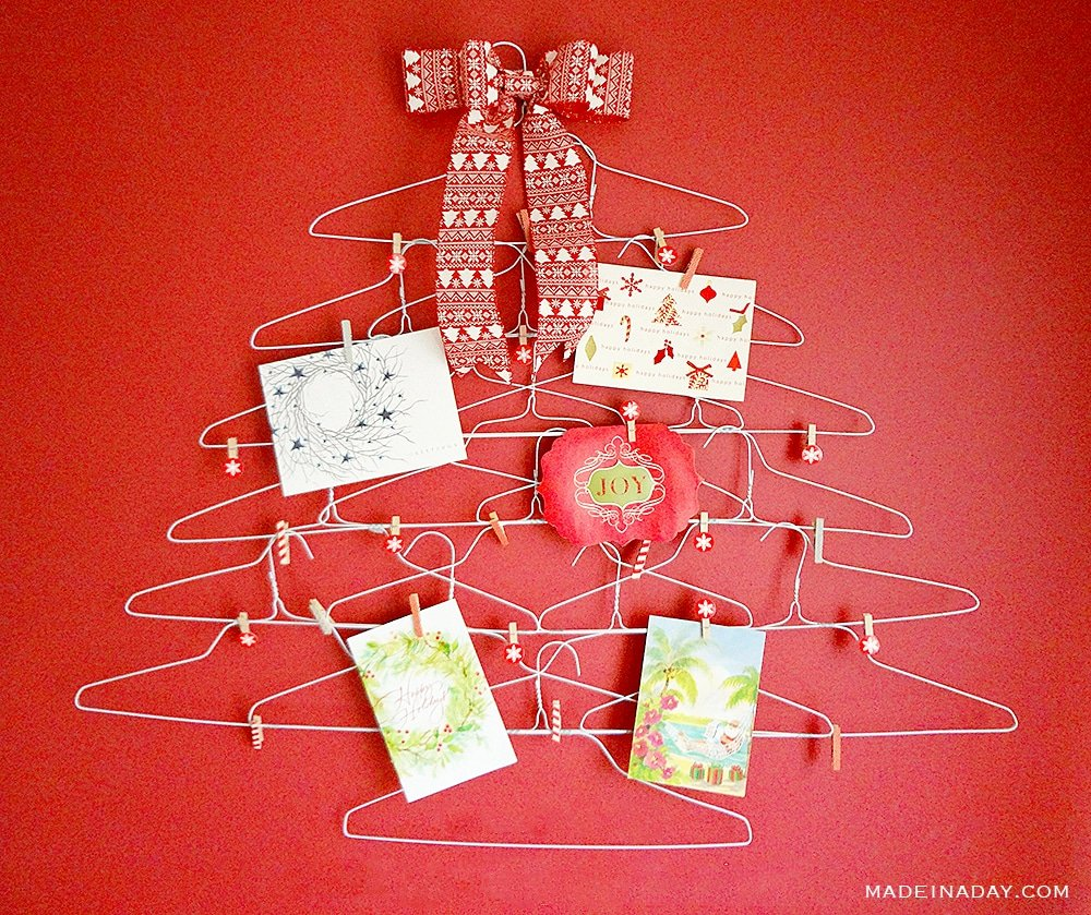 Quirky Wire Hanger Holiday Card Holder, coat hanger Christmas tree card holder