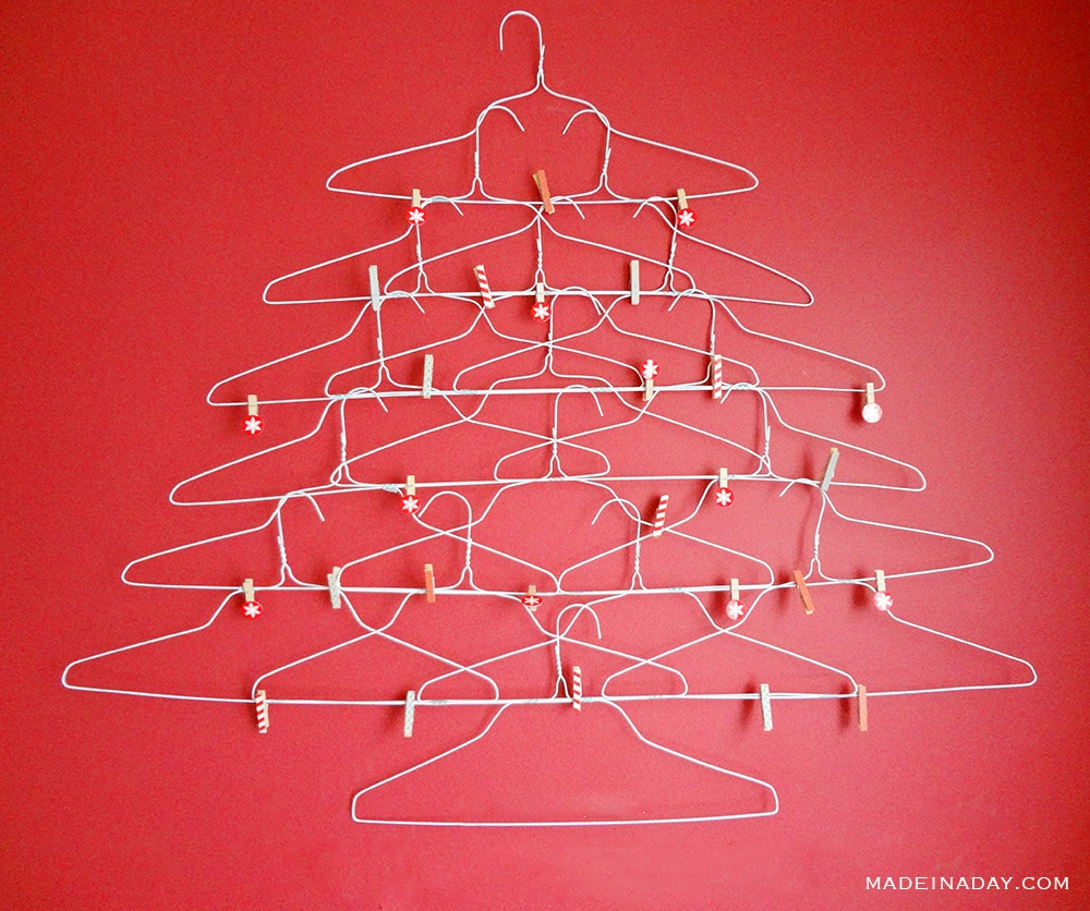 Wire Coat Hanger Christmas tree holiday card holder