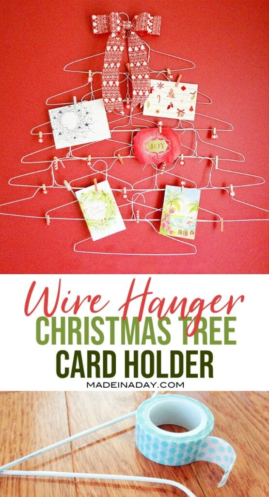 wire hanger christmas tree card holder