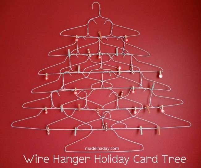 Wire Hanger Holiday Card Holder
