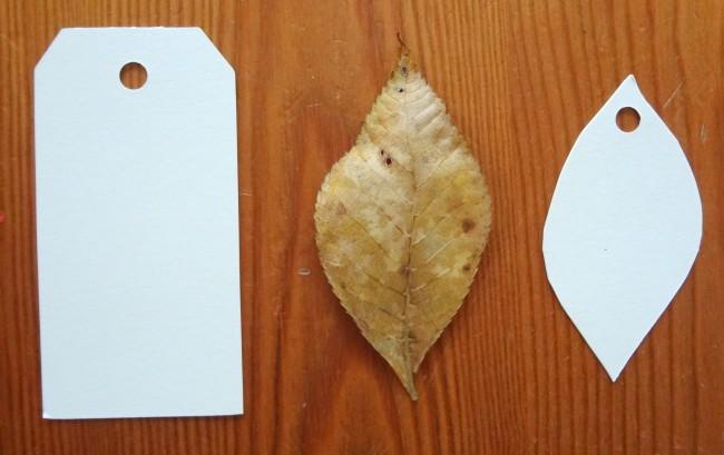 Make leaf shaped tag place card
