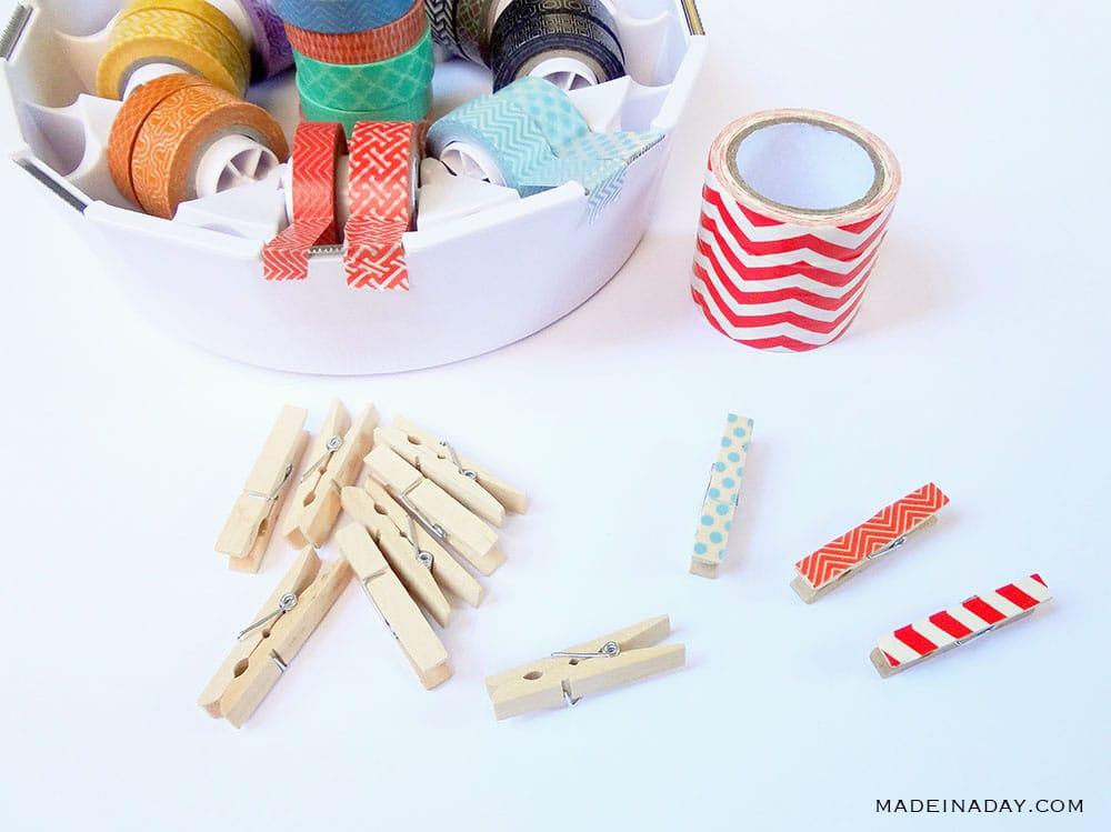 christmas washi tape clothes pin
