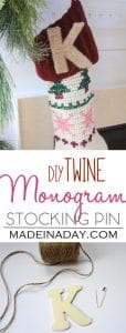 Twine Monogram Letter Stocking Pin 1