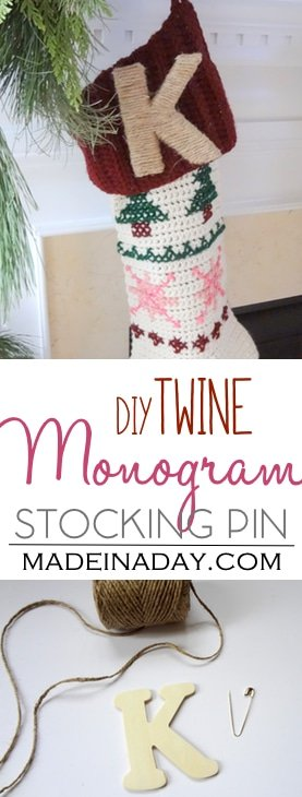 DIY tutorial, Twine Monogram Letter Stocking Pin, rustic stocking pin, easy craft, bakers twine, Christmas craftt, holiday gift, wood letter