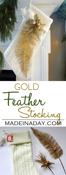 Gold Feather Stocking, add a flocked gold feather and gold pick on white stocking, elegant mantle, easy craft, holiday gift, celebrate