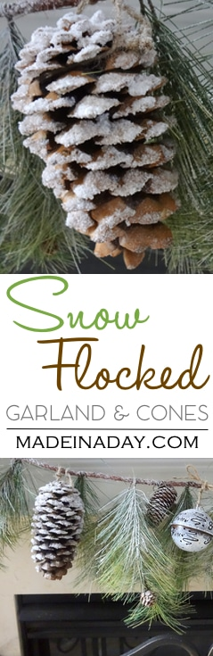 #Snow Covered Garland Holiday Decor, DIY #flocked #pinecones and garland with Epsom salts, holiday decor, Christmas, woodland