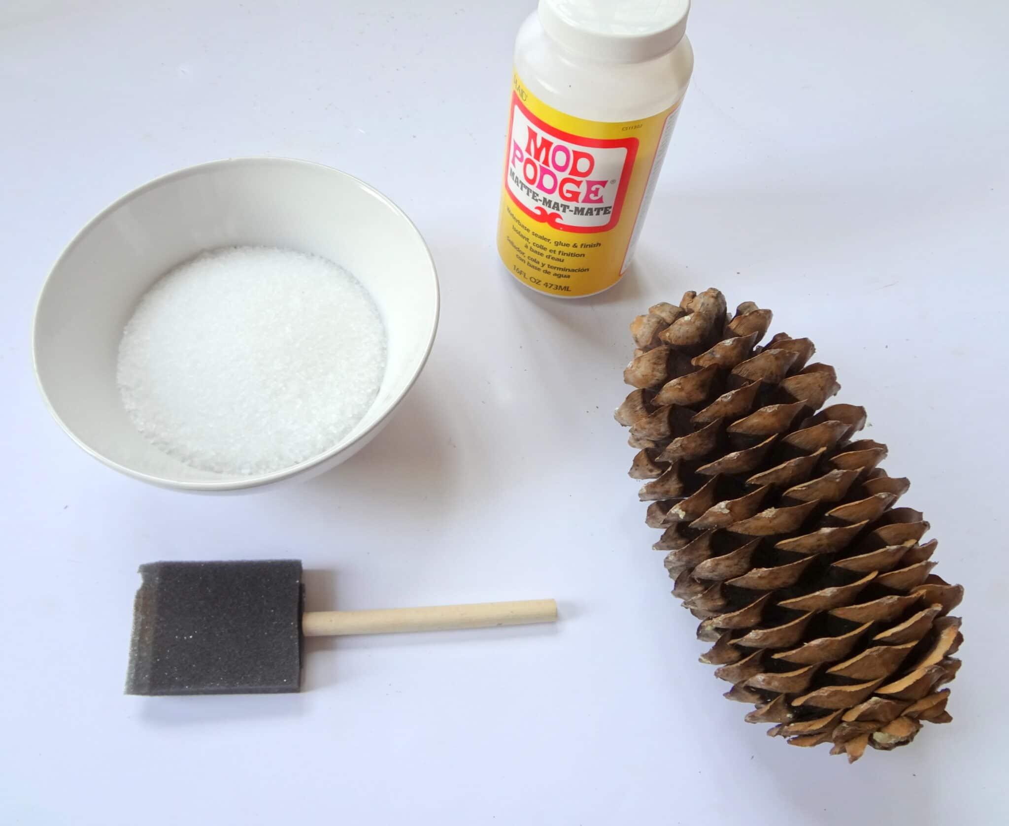 DIY snow flocked pine cones