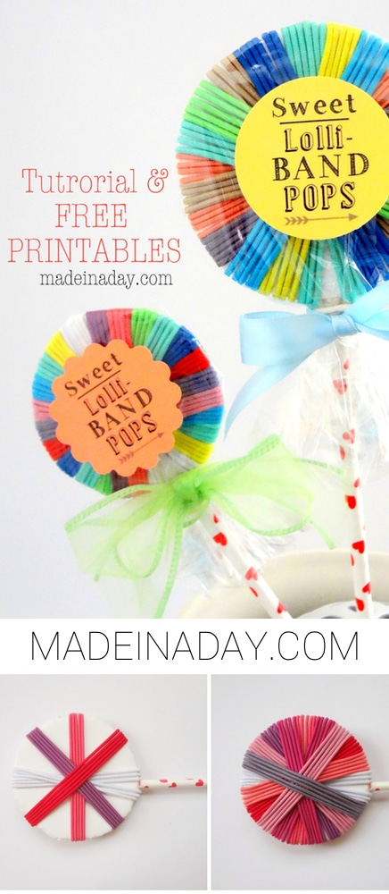DIY Hair Band Lollipops Free Printable, Make these sweet pops for party favors or Valentine's Day Treats!