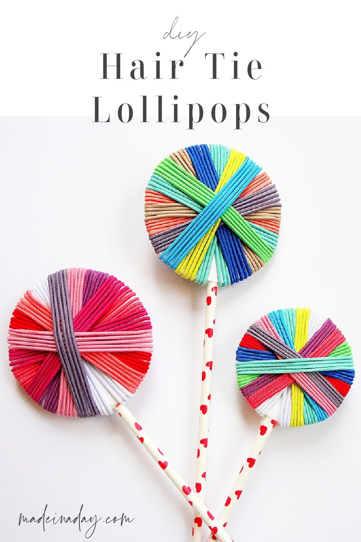 DIY Hair Tie Lollipop Gift +  Printable Tags
