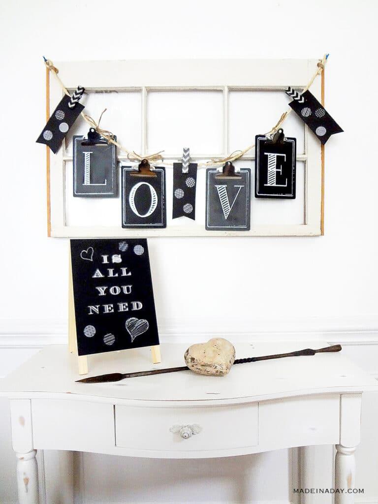 Chalkboard Love Valentine Garland DIY